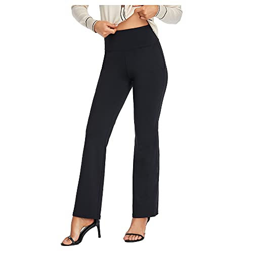 Agenlulu Women's Pants High Waisted - 4 Way Stretch Comfy Non See Through Flare Casual Dress Pants for Women Business Work Black