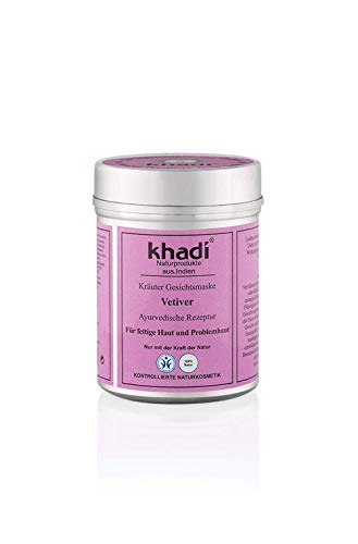 KHADI - Herbal Face Mask Vetiver - For Oily and Problem Skin - Fights acne & pimples - Balances the skin against excessive sebum production