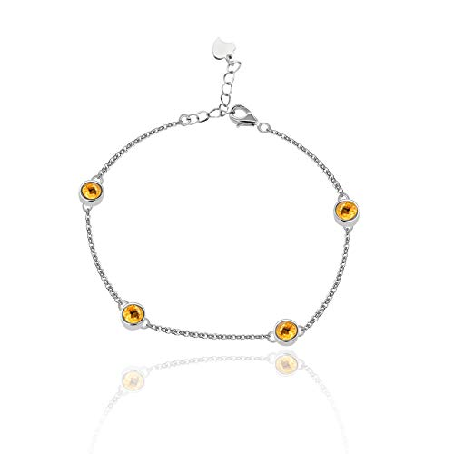 Uloveido 4mm Round Citrine 925 Sterling Silver Metal Link Chain Bracelet for Women with Yellow Crystals FB045