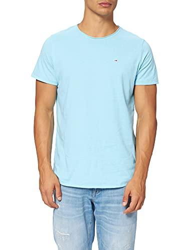 Tommy Jeans Tjm Slim Jaspe C Neck T-Shirt, Chilly Blue Htr, M Uomo