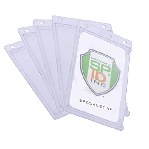 5 Pack - Hard Plastic Badge Holder with Thumb Notch Slide Removal - Vertical Side Load - Clear Frosted Rigid Plastic - Holds One Standard Credit Card Sized Name Badge by Specialist ID