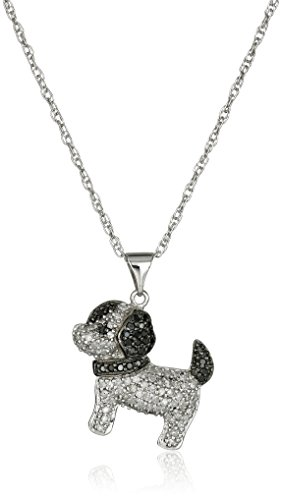 Sterling Silver Black and White Diamond Dog Pendant Necklace (1/3 cttw), 18