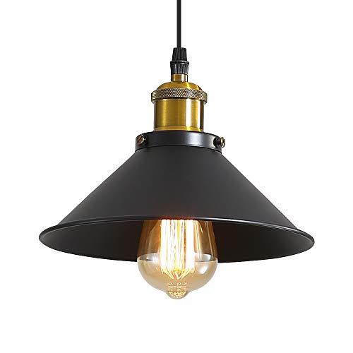 Lámpara Colgante Industrial Vintage Φ22cm de Bombillas E27 Lámpara de Techo Colgante Retro Metal Colgante de luz techo Iluminación Interior para Sala de Estar Cocina Restaurante Salón Bar Café, Negro