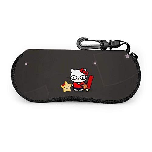 Estuche para gafas de sol y anteojos Hello Kitty Work Hard Durable Soporte para gafas con cremallera y clip para cinturón