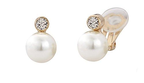 Traveller 113881 - Orecchini a clip con perle da 10 mm e cristalli Swarovski 22 ct oro