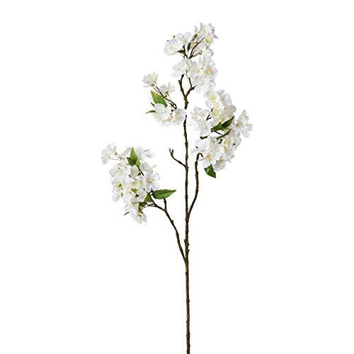 creativ home Künstlicher PFIRSICHBLÜTENZWEIG ca 90 cm. Kirsch -Zweig mit Kirschblüten. Weiß, Weiss. 2019010-40