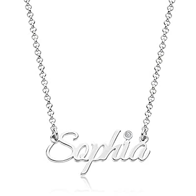 Personalized Name Necklace 925 Sterling Silver Pendant Customized Custom for Women Mother (Style 1)