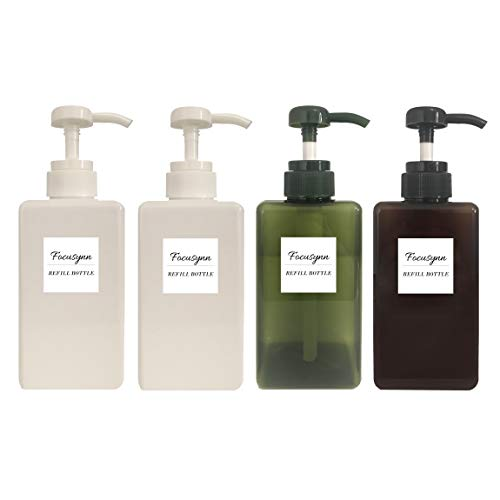 Focusynn 4 Piezas Botellas dispensadoras de Jabón. Botellas de Bomba de Plástico, Recipientes vacíos rellenables para Jabón, Champú, Detergente Líquido (450 ml)