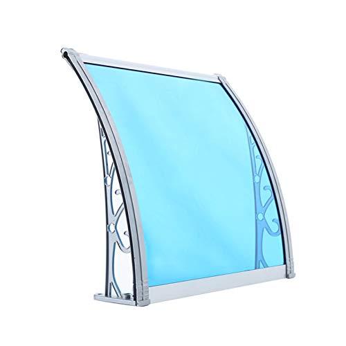 LIUD Tejadillo De Protección Marquesina Azul Marquesina para Puertas 60x100cm Marquesina De Policarbonato Tejadillo De Exterior Pequeño con Soporte De Aleación De Aluminio/5 Tamaños