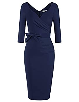 MUXXN Ladies 1930s Style Sweetheart Neckline Backless Sexy Night Day Club Dress  Blue L