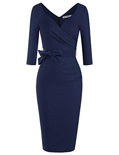 MUXXN Ladies 1930s Style Sweetheart Neckline Backless Sexy Night Day Club Dress (Blue L)