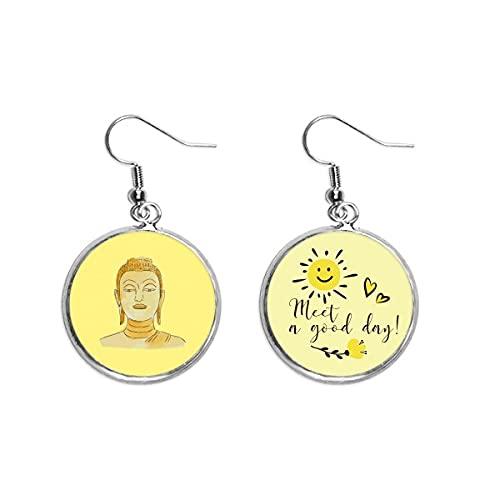 Blessing Gold Pinch Body Mirando Retrato Oído Gota Sol Flor Pendiente Joyería Moda