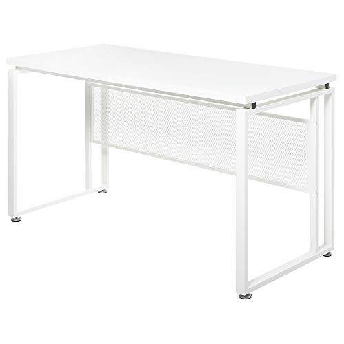 HOMCOM Mesa de Computadora Multifuncional Escritorio Estable con Pies Ajustable para Despacho Casa Estudio Gaming 135x60x75 cm Blanco