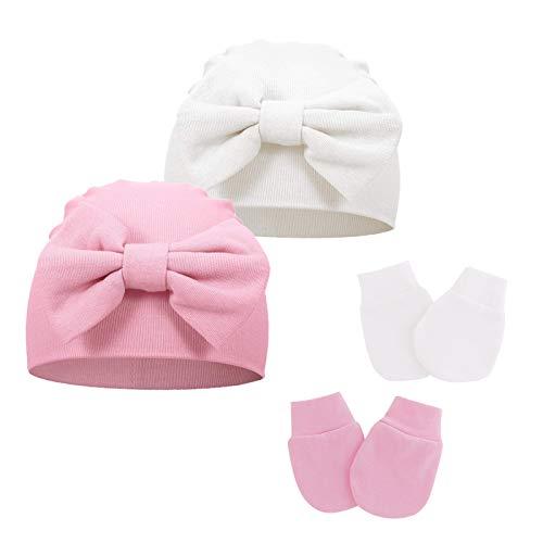 Juego de gorro y manoplas para bebé recién nacido, de algodón, con lazo, para bebés de 0 a 6 meses