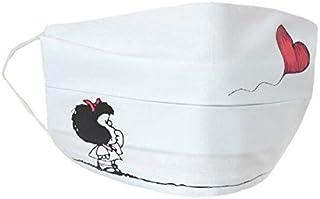 Fantasie Terrene - Firenze. Mascherina fondo bianco, con stampa Palloncino cuore - 100% cotone, lavabile - Per bambini/e
