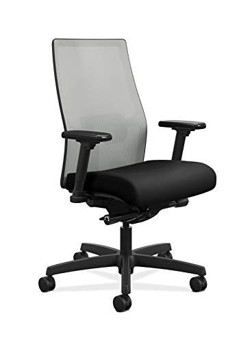 HON Ignition 2.0 Mid-Back Adjustable Lumbar Work Fog Mesh Computer Chair for Office Desk (Black Fabric)