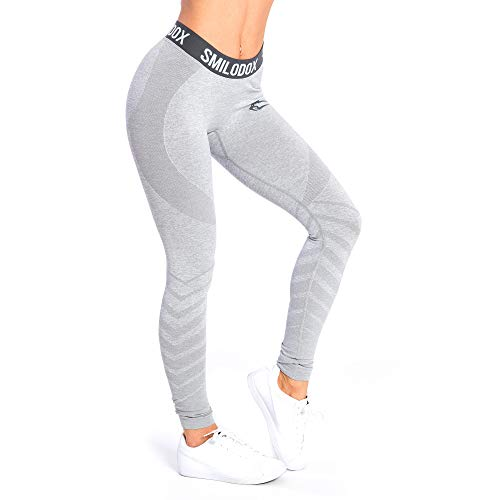 SMILODOX Sport Leggings Damen \'Vira\' | Seamless - Figurformende Tight für Fitness Gym Yoga Training & Freizeit | Sporthose - Workout Trainingshose, Farbe:Grau, Größe:S