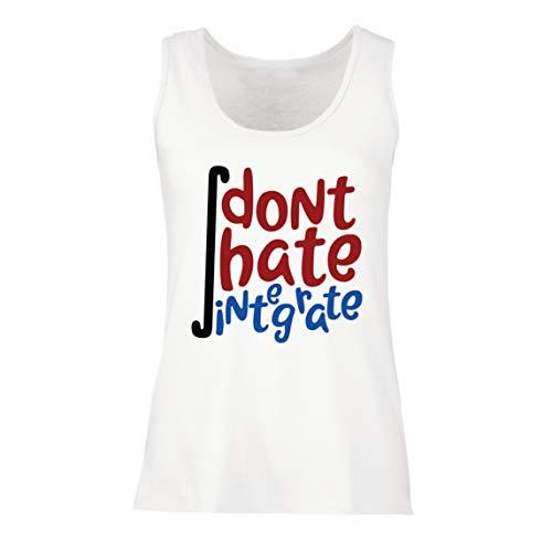 lepni.me Camisetas sin Mangas para Mujer No odies integrar a los Frikis de Las matemáticas Diciendo (Small Blanco Multicolor)