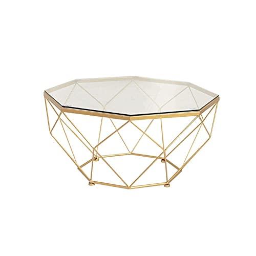 FEI Runder Couchtisch aus gehärtetem Glas Wohnzimmertisch Legerer Beistelltisch mit goldenem Metallrahmen (Color : Gold)