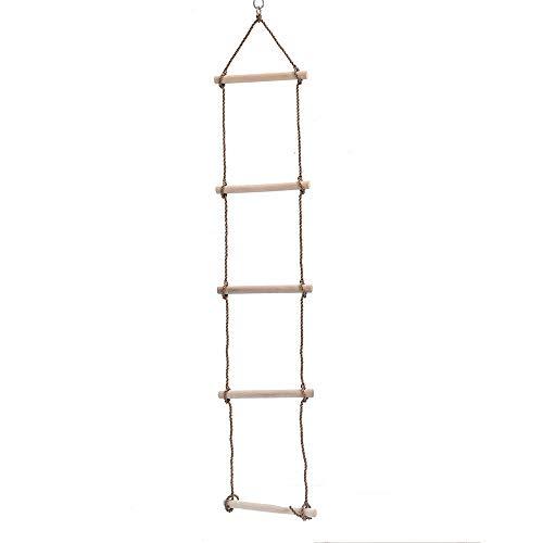 Kinderhouten touwladder - 5 houten staven met een glad oppervlak en een wrijvingskracht van maximaal 2 meter - Ideaal voor het beklimmen van boomhutten