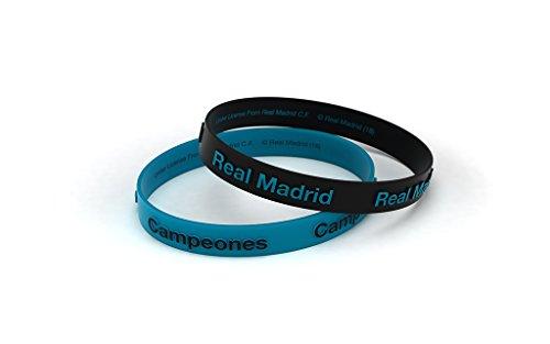 Real Madrid Club Fußball-Armband, geprägt, blau, türkis, für Damen und Kinder, Silikonarmband, offizielles Produkt
