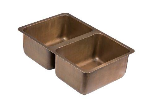 Big Sale Best Cheap Deals ECOSINKS K2U-0801SA Dual Mount 2-Hole Double Bowl Kitchen Sink, Smooth Antique Copper