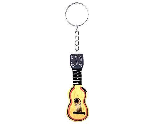 Llavero de guitarra con instrumento musical ligero de madera, hecho a mano, accesorio para colgar, Beige, Talla unica
