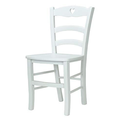 Ordine Minimo 2pz sedia LOIRE CUORE in legno massello (Bianco, Seduta Massello, Schienale Cuore)