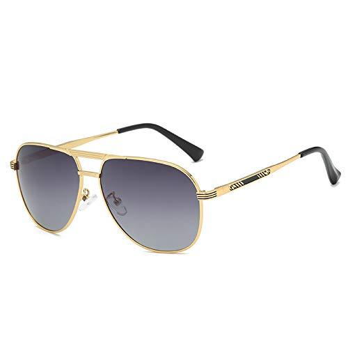 LKVNHP Hohe Qualität Vintage Polarisierte Sonnenbrille Männer Federscharnier Tag Nacht Fahren Sonnenbrille Für Mann Platz Schwarz Anti Reflektieren Uv400Gold Rahmen