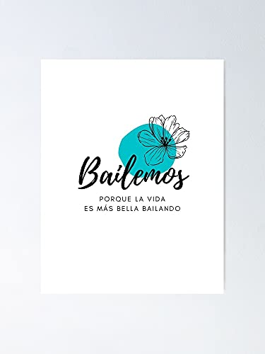 AZSTEEL Bailemos Let's Dance - Póster blanco y azul claro, sin marco para decoración de oficina, el mejor regalo para familia y tus amigos