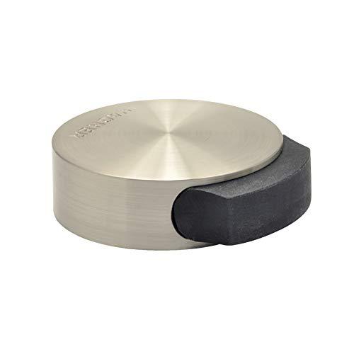 WAGNER Design-Boden-Türstopper Screw OR Glue/Schrauben oder Kleben - Durchmesser Ø 5 x 2 cm, Metall gebürstet, Edelstahloptik, thermoplastischer Kautschuk, Designpreis - 15511111