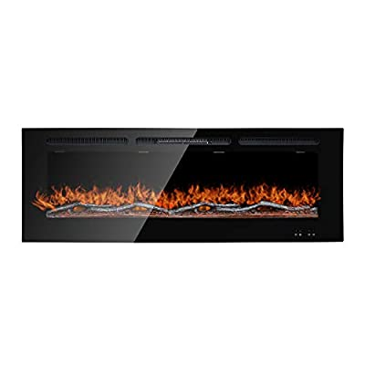 Stufery Recessed Electric Fireplace- Wall Remote Control-Mounted Heater for 10 Colors Transform