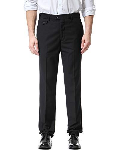 LaoZanA Herren Casual Smokinghosen Anzughosen Formal Business Straight Fit Schwarz 4XL