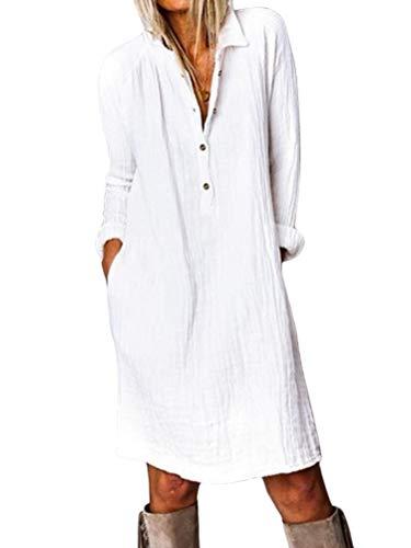 ORANDESIGNE Baumwolle Leinen Kleider Damen V-Ausschnitt Blusenkleid Hemdkleid Elegantes Sommerkleid Knielang Langarm Tunikakleid Locker mit Taschen Weiß XL
