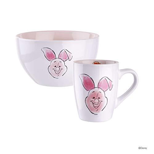 BUTLERS DISNEY - Müslischale und Tasse mit Winnie Pooh Design - Frühstücks-Schale und Kaffee-Becher Motiv Ferkel in Weiß-Hellrosa