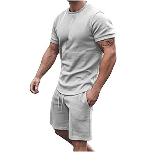 2021 Herren Jogginganzug Sportanzug, 2-Teiliges Outfit Sport Set Kurzarm Suit Sommer Freizeit Kurze Sets Sporthose+T-shirt mit Taschen Männer Trainingsanzug Freizeitanzug Sporthoses