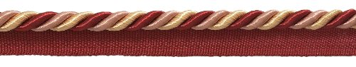 9.1 Meter Value Pack Medium RED, LIGHT ROSE Baroque Collection 8mm Cord with Lip Style# 0516BL Color: ROSE BOUQUET - 7953 (30 Ft / 10 Yards)