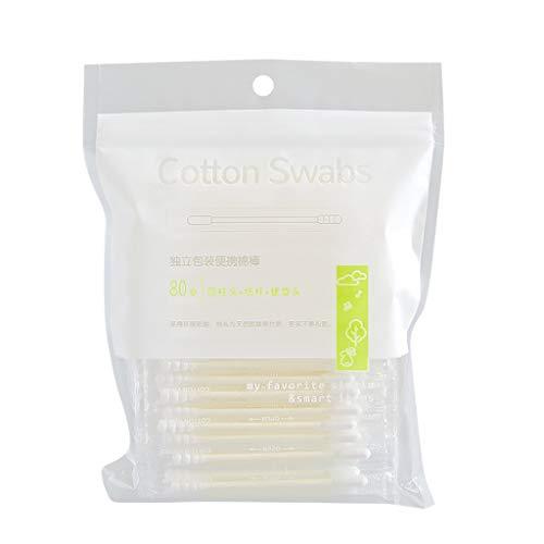 Serria Coton Tiges 1 Paquets 80 Pièces pour Soins de Nettoyage des Oreilles Soin des Blessures Outil Cosmétique Biodégradables Double Tête - Bourgeons de Coton en Bambou