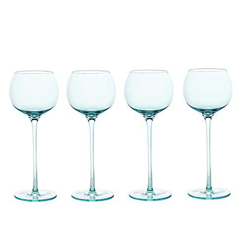 AHAI YU Cristal Premium - Cata de vinos Copas de Vino, Juego de 4, Copa de Cristal Serie de Colores, Copas de Vino de Tallo Largo, Cristal Premium, Cristal Claro Hombres o Mujeres
