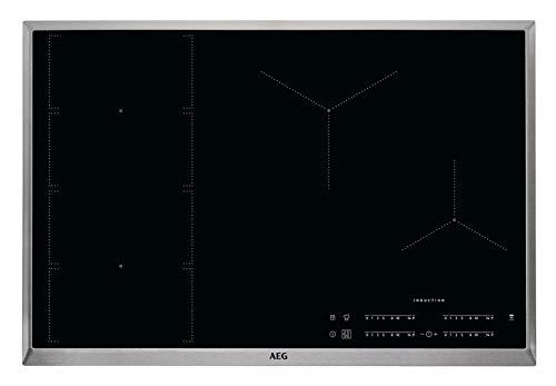 AEG IKE84471XB geïntegreerde kookplaat (inductie, glaskeramiek, zwart, roestvrij staal, 1800 W, rond)