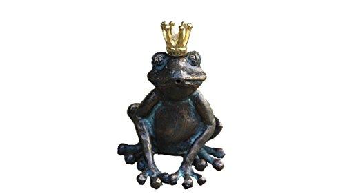 Steinfiguren Horn Wasserspeier Froschkönig, Bronze Frosch, Tierfigur für Garten & Teich