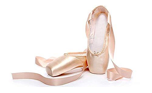 CYSTYLE Damen Mädchen Satin Spitzenschuhe Ballettschläppchen Ballettschuhe Tanzschuhe Ballett Trainings Schläppchen mit Silikonhülle (EU 38=Asia 40, Fleisch)