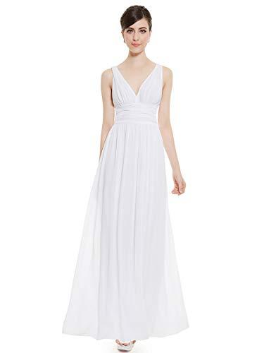Ever-Pretty Vestito da Sposa Donna Linea ad A Stile Impero Chiffon Scollo a V Senza Maniche Bianco 36