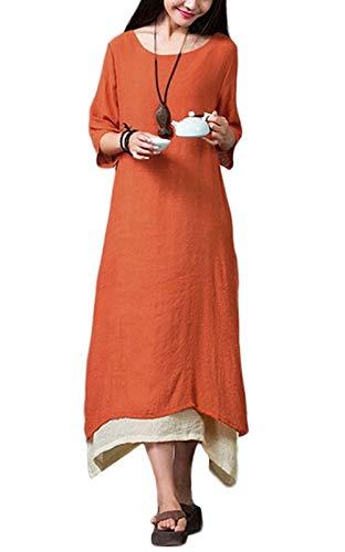 Damen Kleid Unregelmäßiger Rand Beiläufige Boho Lang Maxikleider S-4XL,Orange/Grün/Coffee, Orange, S