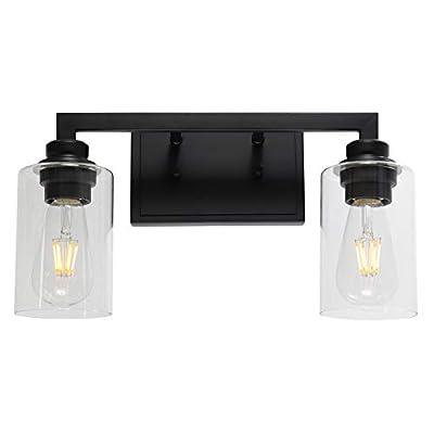 VINLUZ 2 Light Vanity Light Fixture Black Finish with Glass Shade Farmhouse Metal Wall Light Fixtures Industrial Modern Sconces Lighting for Hallway Bedroom Living Room