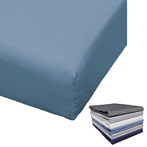 Bierbaum Spannbettlaken Mako Satin 90-100x200 / 180-200x200 cm Weiß Anthrazit Indigo Silber Grau Blau, Farbe:Blau, Größe:100x200cm Spannbettlaken