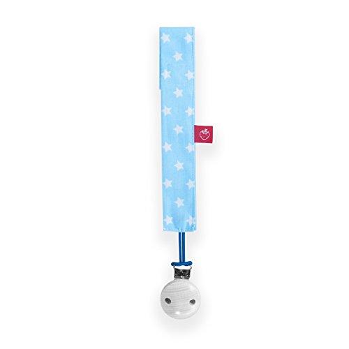 La Fraise Rouge 4251005601334 fopspeen band inclusief fopspeen clip, Pierre, lichtblauw met witte sterren