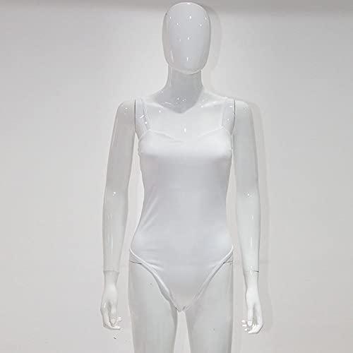 RuaRua Mono para Mujer,Moda Casual Verano Sin Mangas Bodycon, Body Mujer Jumpsuit Streetwear Outfits Cuerpo Sólido, Blanco, M