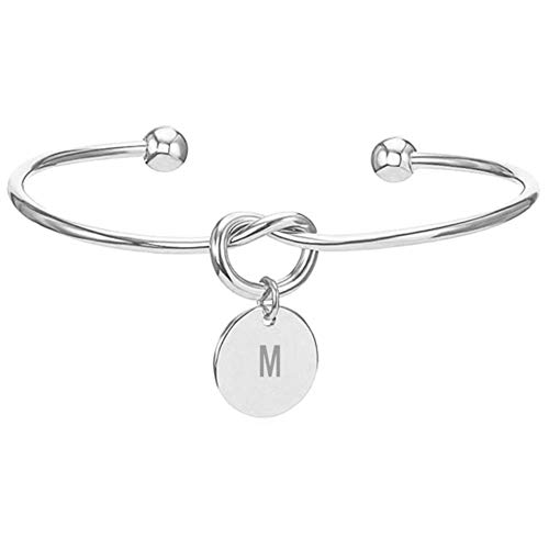 Saicowordist 26 Englisches Alphabet Runde Verknotet Silber Armband Weiblich Persnlichkeit Mode Armband Schmuck Heies Geschenk(M)