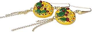Orecchini Pendenti Donna Siciliani, Ciondolo Ceramica con Ruota di Carretto Siciliano e Fico d'india, N'Amuri Cuore Siciliano